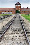 Traintracks and building, Birkenau, Auschwitz Concentration Camp, Poland