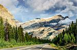 Scenic view of the road on Icefields parkway, Canadian Rockies, Canada