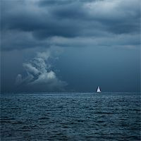sailing boat storm - Boat Sailing in Center of Storm Formation. Dramatic Background. Danger in Sea Concept. Toned Photo with Copy Space. Stock Photo - Royalty-Freenull, Code: 400-08250921