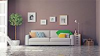 flooded homes - flooding in luxurious interior. 3d creative concept Stock Photo - Royalty-Freenull, Code: 400-08254049