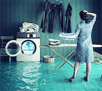 flooded homes - Housewife`s dreams. Creative concept. Photo combination Stock Photo - Royalty-Freenull, Code: 400-08256133