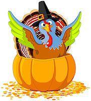 pilgrimartworks - Illustration of cute Pilgrim turkey into pumpkin Stock Photo - Royalty-Freenull, Code: 400-08258750