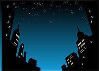 Graphic Style Cartoon Night City Skyline Background Stock Photo - Royalty-Freenull, Code: 400-08264186