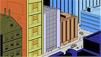 Retro Vintage City Street Scene for Comics and Animation Stock Photo - Royalty-Freenull, Code: 400-08264223