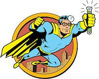 Retro Classic Superhero Doctor Medic Flying Over the City with Glasses and Vial of Cure Serum Antidote Stock Photo - Royalty-Freenull, Code: 400-08266152