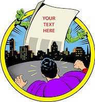 Classic Retro Superhero Ready to Fight Paper Monster Displaying Your Custom Message Over City Skyline Stock Photo - Royalty-Freenull, Code: 400-08266155