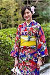 Portrait of Young Woman Traditionally Dressed in Kimono, Higashiyama, Kyoto, Japan