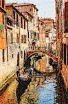 Watercolor stylized photo of Venice, gondola