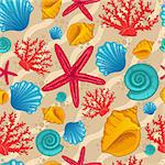 Seamless pattern with seashells, starfish and coral. Background with waves. Vector illustration can be used for fills, web page background, surface, textile, wrap