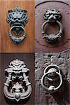 collection of antique door knockers