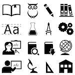Education, learning and school icon set