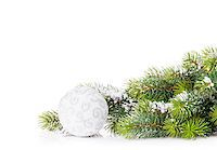 silver box - Christmas tree branch with snow and bauble. Isolated on white background with copy space Stock Photo - Royalty-Freenull, Code: 400-08295020