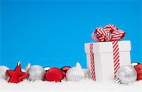 silver box - Christmas background with baubles, gift box and copy space Stock Photo - Royalty-Freenull, Code: 400-08299747