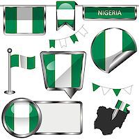 Vector glossy icons of flag of Nigeria on white Stock Photo - Royalty-Freenull, Code: 400-08303599