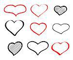 Abstract hand-drawn vector doodle heart icons set