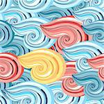 Bright seamless pattern with beautiful graphics waves