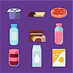 Common Goods and Everyday Products in Flat Style. Vector Collection