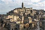 Overview of Sassi with the bell tower of the cathedral at the highest point called Civita, Matera, Basilicata, Italy