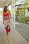 Beautiful woman walking at a spa resort
