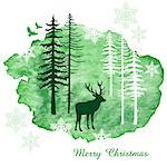 Christmas card with reindeer, watercolor painting, vector illustration