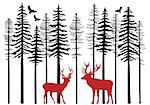Fir tree forest with reindeer, Christmas card, vector illustration