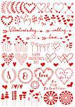Heart flowers, set of vector graphic design elements for Valentine's day cards, wedding invitation