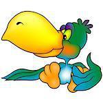 Green Sitting Parrot with Big Yellow Beak - Colored Cartoon Illustration, Vector