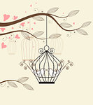 White doves in a cage vector illustration