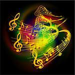 Vector illustration of musical background waves musical notes on a colored background.