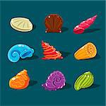 Vector Collection of Colorful Shells. Cartoon game elements