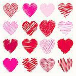Vector collection of scribbled valentine hearts with hand drawn style of red and pink color