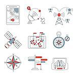 Different navigation icons set with rounded corners. Design elements linen