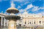 Bernini Fountain at St Peter's Basilica and Square, Vatican City, Rome, Italy