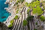 Elevated view of the winding footpath of Via Krupp, with the Tyrrhenian Sea, Capri, Campania, Italy