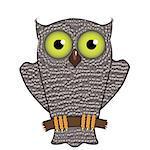 Cartoon Owl  Isolated on White Background. Predator Bird.