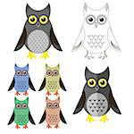 Owl Icons Isolated on White Background. Symbol of Halloween.