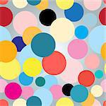 Seamless colorful graphic pattern with red circles on a light background