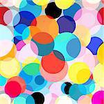 Seamless colorful graphic background with circles on a light background