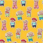Seamless pattern with funny cartoon bears.  Vector illustration.