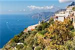 Buildings on the cliffs of the Amalfi Coast from Sentiero degli Dei (Path of the Gods) overlooking the Tyrrhenian Sea, Italy