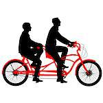 Silhouette of two athletes on tandem bicycle. Vector illustration.