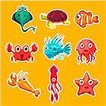 Many species of fish and marine animal life Victor illustration