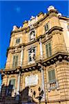 Close-up of West building at Piazza Vigliena (Quattro Canti) on Corso Vittorio Emanuele in the historic center of Palermo in Sicily, Italy
