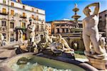 Close-up of a variety of statues at the Pretoria Fountain in Piazza Pretoria (Pretoria Square) in the historic center of Palermo in Sicily, Italy