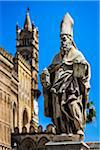 Statue of Saint Augustine of Canterbury in front of the Palermo Cathedral in historic Palermo in Sicily, Italy