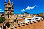 Overview of rooftops of the city of Palermo viewed from the Palermo Cathedral with bell tower in Sicily, Italy