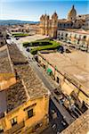 Overview of the Noto Cathedral and grounds in the city of Noto in the Province of Syracuse in Sicily, Italy