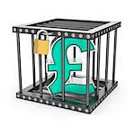 Sterling pound symbol locked inside a steel cage