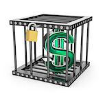 Dollar Symbol locked in a steel cage