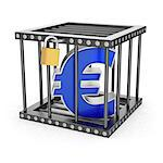 Euro symbol locked inside a steel cage